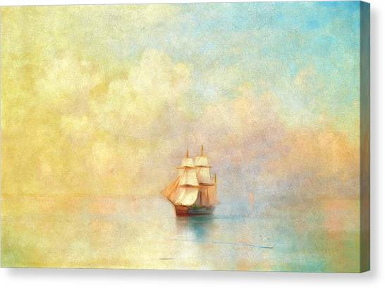 Boat Canvas Print - Sunrise On The Sea by Georgiana Romanovna