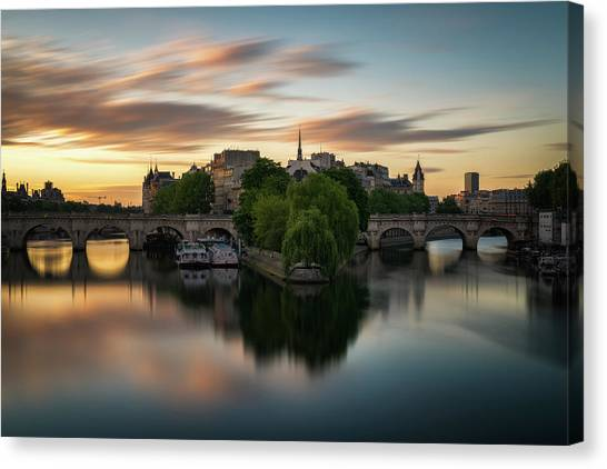 Sunrise On The Seine Canvas Print