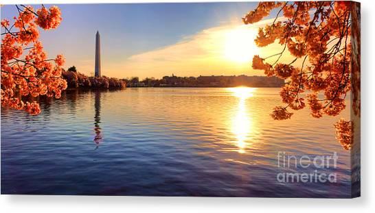 Washington Monument Canvas Print - Sunrise On The Tidal Basin by Olivier Le Queinec