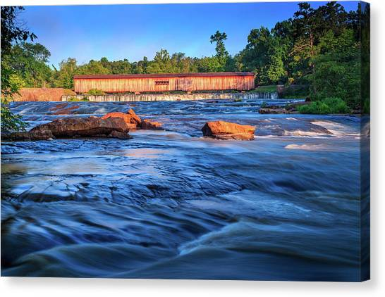 Canvas Print featuring the photograph Sunrise On Watson Mill Bridge by Doug Camara