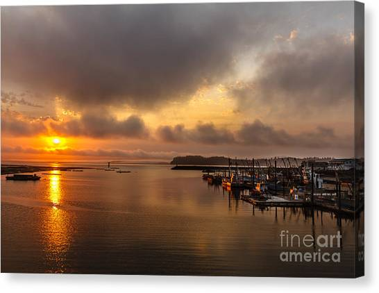 Boat Basin Canvas Print - Sunrise On Willapa Bay by Robert Bales
