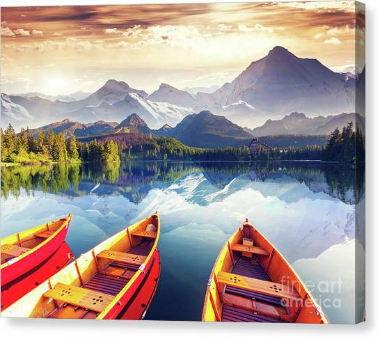 Ships Canvas Print - Sunrise Over Australian Lake by Thomas Jones