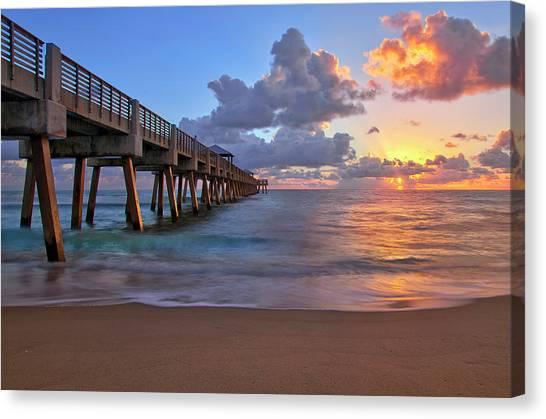 Sunrise Over Juno Beach Pier In Florida Canvas Print