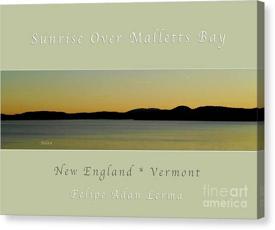Sunrise Over Malletts Bay Greeting Card And Poster - Six V4 Canvas Print