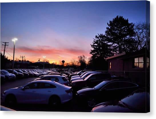 Sunrise Over The Car Lot Canvas Print
