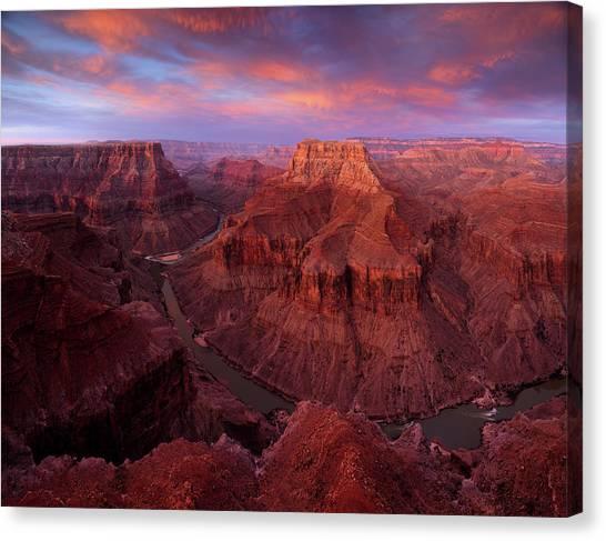 Sunrise Over The Confluence Canvas Print by Adam Schallau
