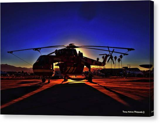 Skycrane Canvas Print - Sunrise Over The Dragon Slayer by Tommy Anderson