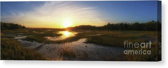 Marsh Grass Canvas Print - Sunrise Over The Marsh Pano by Michael Ver Sprill
