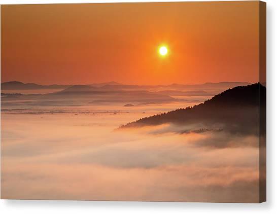 Ljubljana Canvas Print - Sunrise Over The Moors by Ian Middleton
