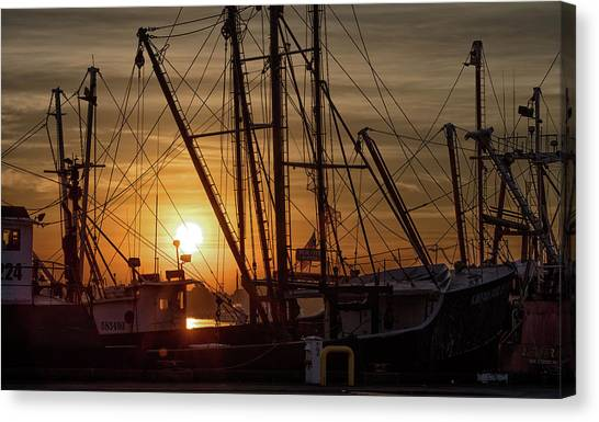 Sunrise Over The New Bedford Harbor Canvas Print by John Hoey