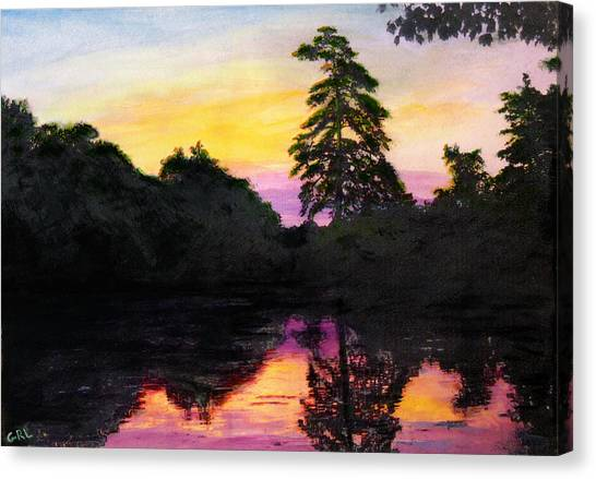 Sunrise Pond Maryland Landscape Original Fine Art Painting Canvas Print