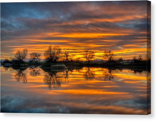 Sunrise Reflection In The River Canvas Print