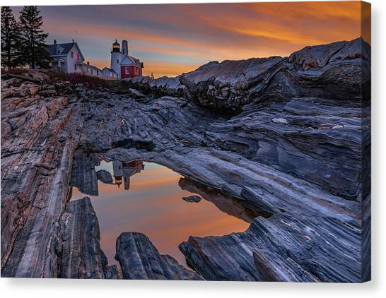 Sunrise Reflections At Pemaquid Point Canvas Print