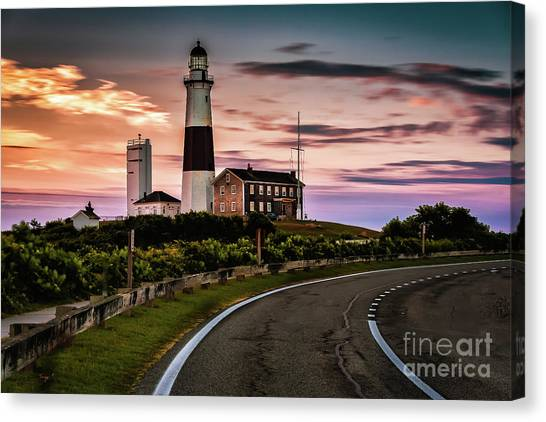 Sunrise Road To The Montauk Lighthous Canvas Print