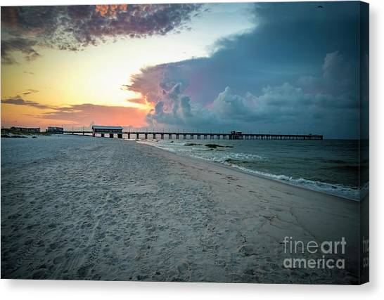 Sunrise Seascape Gulf Shores Al Pier 064a Canvas Print