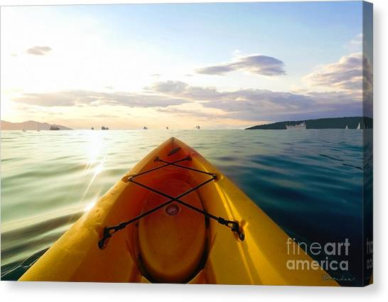 Sunrise Seascape Kayak Adventure Canvas Print
