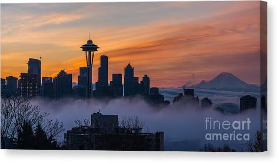 Seattle Skyline Canvas Print - Sunrise Seattle Skyline Above The Fog by Mike Reid