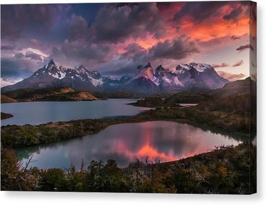 Sunrise Spectacular At Torres Del Paine. Canvas Print