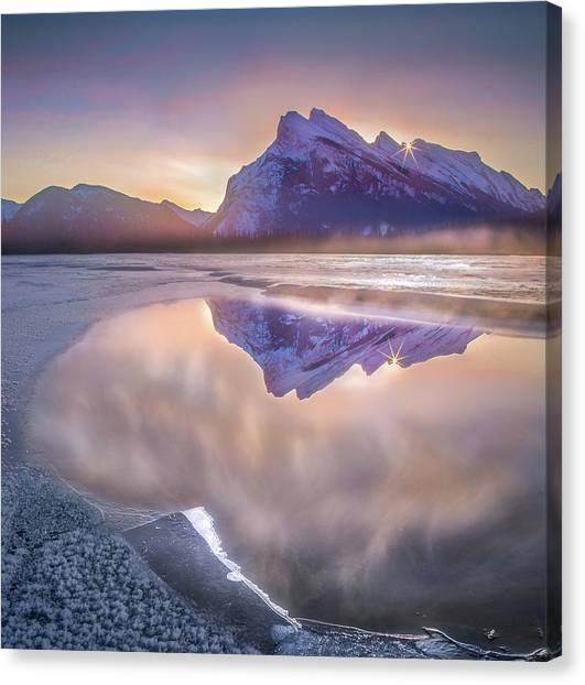Canvas Print featuring the photograph Sunrise Sunburst // Vermillion Lakes, Alberta by Nicholas Parker