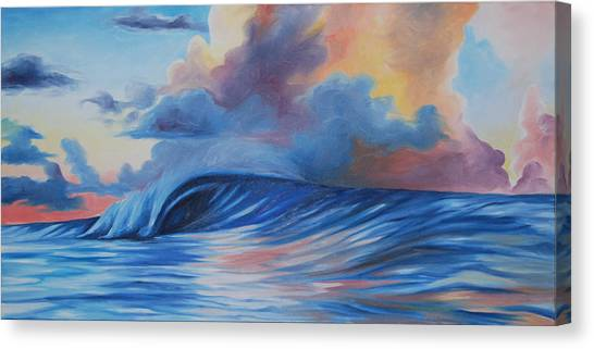 Sunrise Surf Canvas Print by Katherine  Fyall