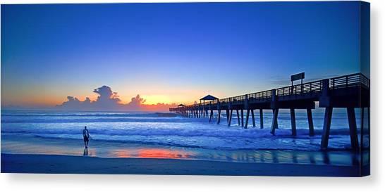 Linda King Canvas Print - Sunrise Surfer At Pier - 4953 by Linda King