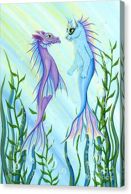Sunrise Swim - Sea Dragon Mermaid Cat Canvas Print