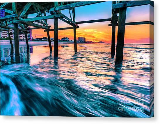 Sunrise Under Cherry Grove Pier Canvas Print
