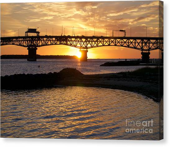 Sunrise Under Coleman Bridge Canvas Print