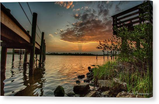 Sunrise Under The Dock Canvas Print