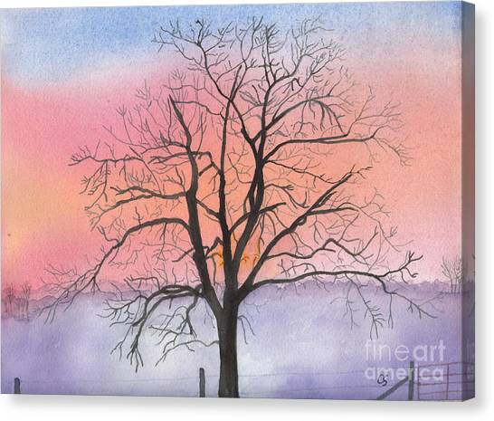 Sunrise Walnut Tree 2 Watercolor Painting Canvas Print