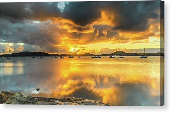 Sunrise Waterscape With Reflections Canvas Print