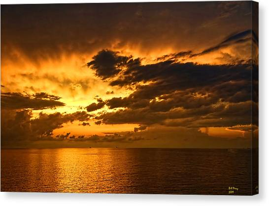 Sunrise With A Rain Shower Canvas Print by Bill Perry