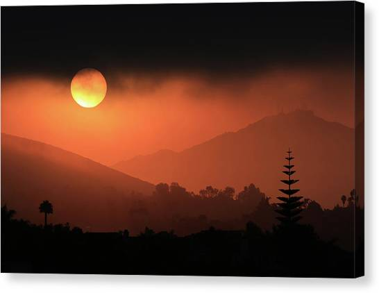 Sunrise With Coastal Fog Canvas Print by Robin Street-Morris