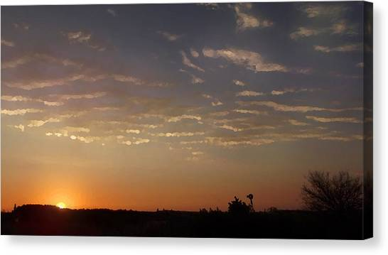 Sunrise With Windmill Canvas Print