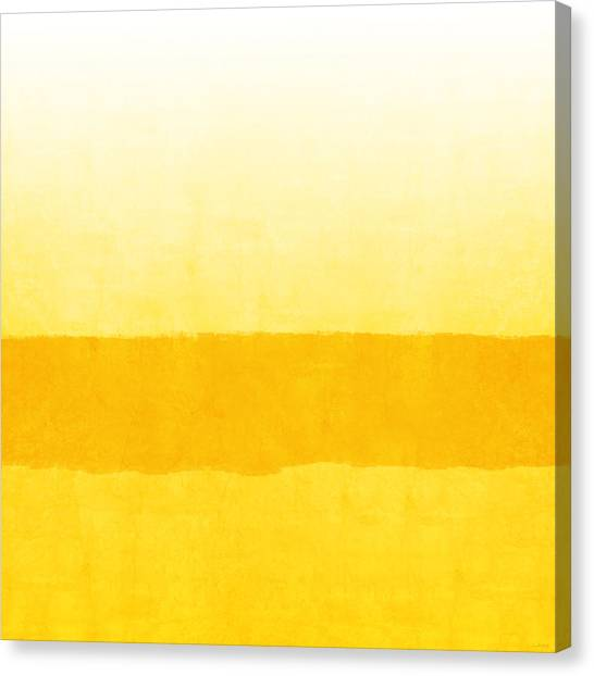 Set Design Canvas Print - Sunrise- Yellow Abstract Art By Linda Woods by Linda Woods