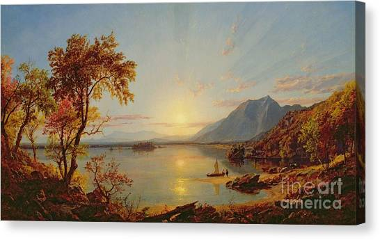 Sundown Canvas Print - Sunset  Lake George by Jasper Francis Cropsey