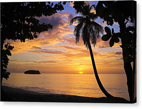 Sunset 3-st Lucia Canvas Print