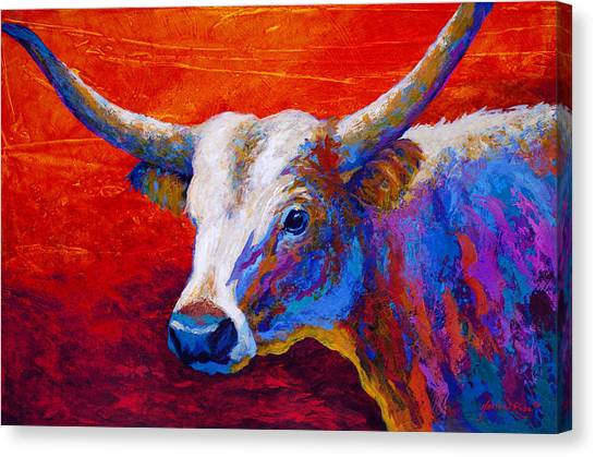 Longhorn Canvas Print - Sunset Ablaze by Marion Rose