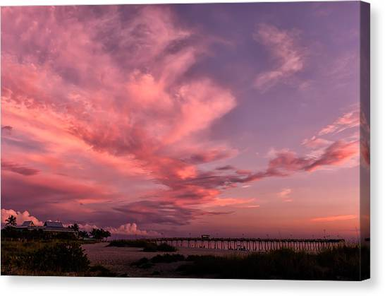Southwest Florida Sunset Canvas Print - Sunset Afterglow At The Pier by Frank J Benz
