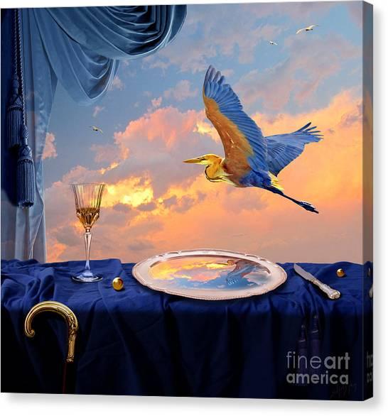 Canvas Print featuring the digital art Sunset by Alexa Szlavics