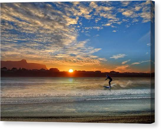Sunset And A Surfer At Bundoran Canvas Print