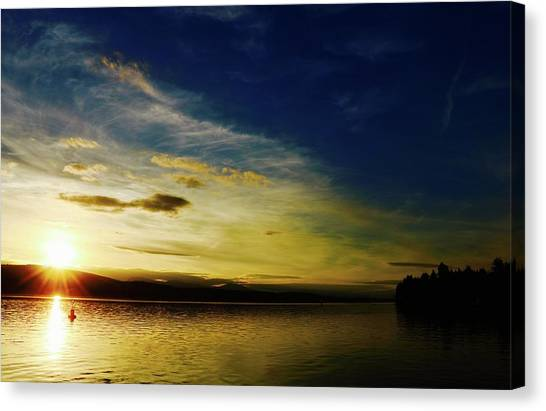 Sunset And Buoy Over Vancouver Island Canvas Print