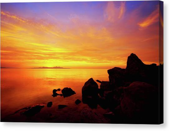 Salt Canvas Print - Sunset And Fire by Chad Dutson