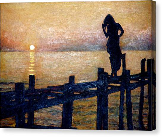 Sunset And Girl Canvas Print