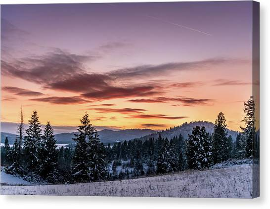 Sunset And Mountains Canvas Print