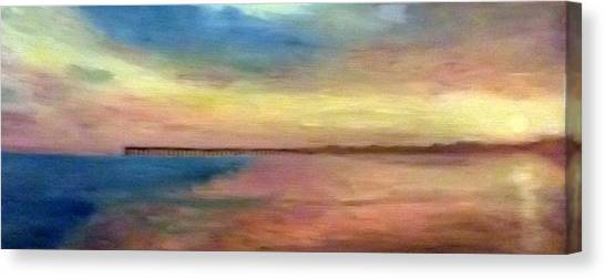 Sunset And Pier Canvas Print
