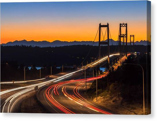 Sunset And Streaks Of Light - Narrows Bridges Tacoma Wa Canvas Print