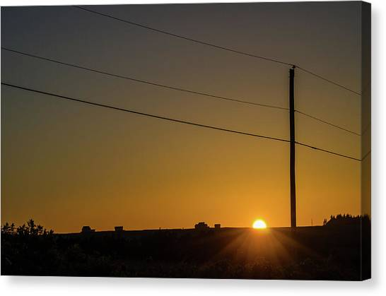 Canvas Print featuring the photograph Sunset And Telephone Post by Rob Huntley