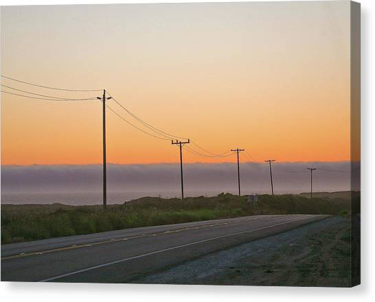 Sunset And Telephone Wires Canvas Print by Liz Santie