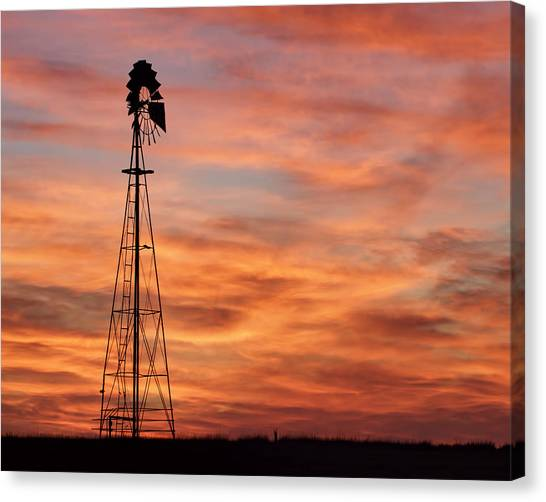 Sunset And Windmill 04 Canvas Print